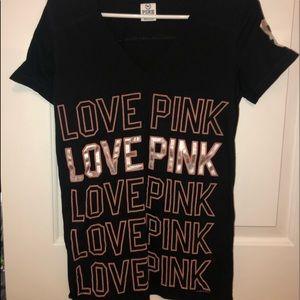 PINK Victorias Secret V Neck Short Sleeve